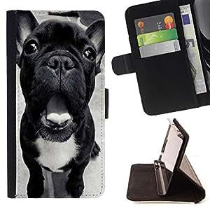 King Art - Premium-PU-Leder-Prima caja de la PU billetera de cuero con ranuras para tarjetas, efectivo Compartimiento desmontable y correa para la mu?eca FOR Apple iPhone 4 4S 4G- Bulldog Bull Dog Pet Puppy