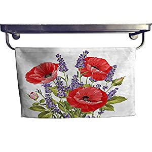 """Lavender Extra Wide Bathroom Accessories Bunch of Lavender and Poppy Flowers Fresh Rustic Botanical Bouquet Luxury Hand Towels Set W 14"""" x L 28"""" Red Violet Olive Green 48"""