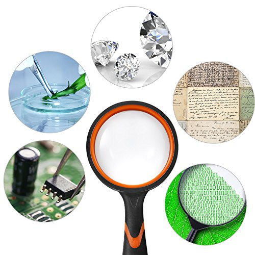 Gejoy 2 Pieces Magnifying Glass Handheld Reading Magnifier 100 mm 3X Large Magnifying Lens 50 mm 10X Small Magnifying Lens with Non-Slip Soft Rubber Handle for Reading, Hobbies, Repair, Observation by Gejoy (Image #2)