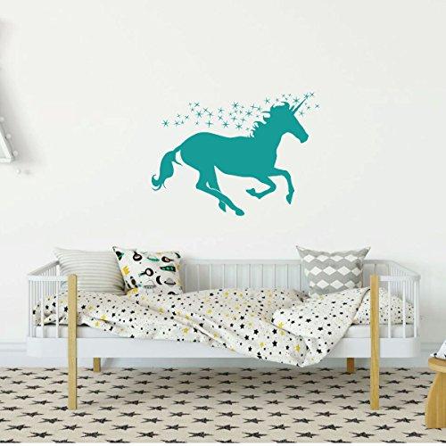 (Turquoise Unicorn Wall Decor Vinyl Decal for Girl's Bedroom, Playroom or Bathroom - Baby's Nursery)