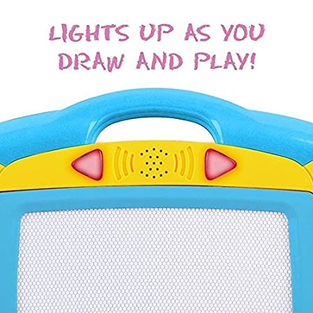 Amazon.com: Magnetic Drawing Board for Kids - 4 Color Zone Erasable Magna Doodle Pad for Educational Sketching with Lights and Sounds - Great Gift for Boys ...