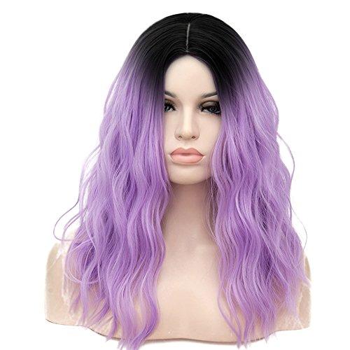 (Mildiso Wigs - Purple Ombre Wavy Wig for Women Girls 17 Inch Medium Wig Cosplay Wig Halloween Costume Wig with Wig Cap (Black to Purple))
