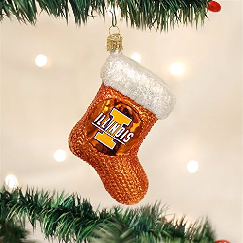 ILLINOIS FIGHTING ILLINI STOCKING GLASS ORNAMENT 4 ()