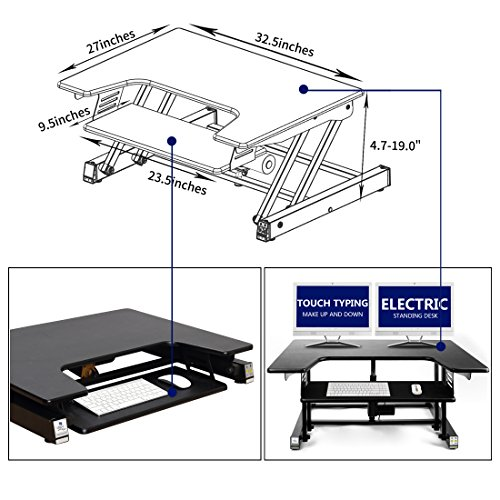 Electric Height Adjustable Sit Stand Desk Converter For Dual Monitor, Separate Keyboard & Mouse by LAMURO (Image #4)