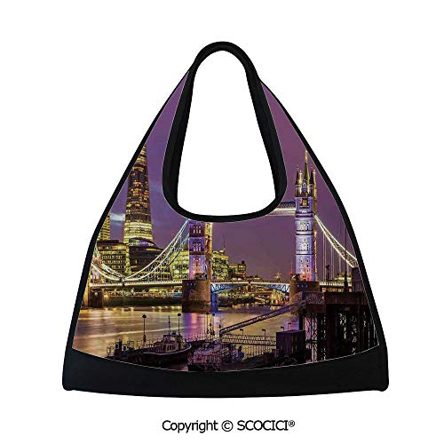 - Table tennis bag,Tower Bridge in London at Night Historical Cultur Monument Europe British Urban Decorative,Bag for Women and Men(18.5x6.7x20 in) Purple Yellow