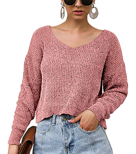 BTFBM Women V-Neck Long Sleeve Solid Chenille Soft Knit Sweater Crop Top Fashion Casual Pullover for Autumn Winter (Pink, Medium) (Long Sleeve Sweater Crop Top)