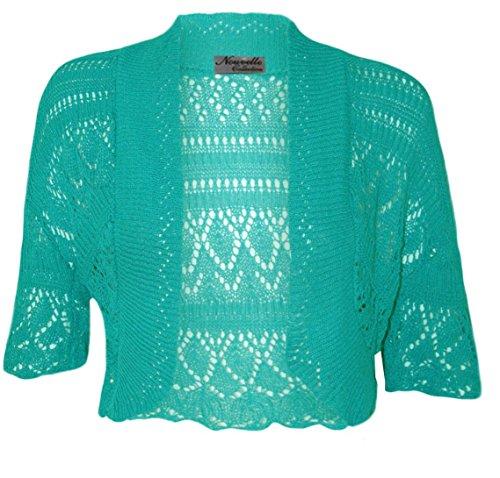 NEW de punto para mujer patrones para coser y de bellos colores Toreras encogimientos de hombros TOPS para mujer chaqueta 16-32 turquesa
