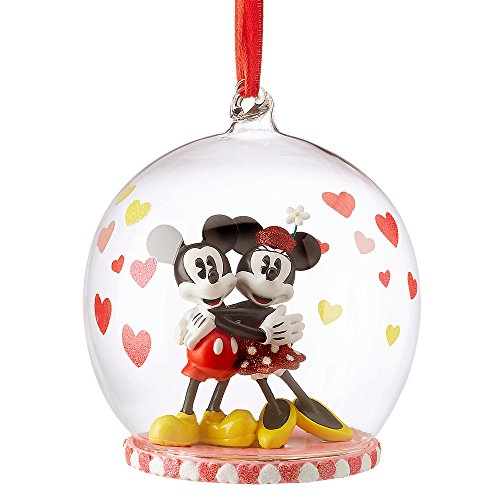 Disney Mickey and Minnie Mouse Glass Globe Sketchbook Ornament -