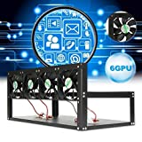 Fiaya Steel Coin Mining Case Rig Open Air Mining Frame Rig Case BTC ETH Ethereum Miner with 6 GPU and 4 Fans