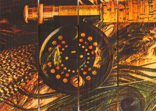 Gizaun Art Fly Reel 22-1/2-Inch by 16-Inch Inside/Outside Wall Art, Full Color on Cedar by Gizaun Art