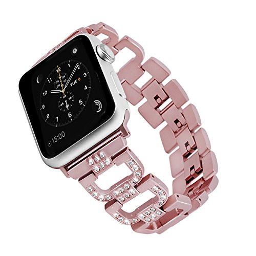 (Rockvee Compatible Apple Watch Bling Band Woman, Metal Replacement Wristband Bracelet Bands Nike+, Series 3, Series 2, Series 1, Sport, Edition, 38mm & 48mm, Silver, Black, Champagne Gold, Pink)