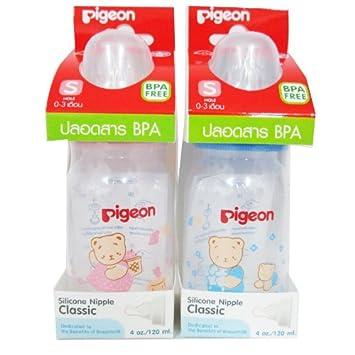 Amazon.com: Pigeon 2 biberones de bebé 4 oz/120 ml sin BPA ...
