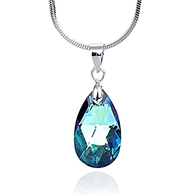 d5505e734c027 Crystal Teardrop Pendant Necklace Made with Swarovski Elements 18K White  Gold Plated Chain for Women Brilliant Clear Shiny Jewelry Excellent Quality  ...