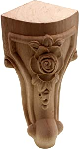 Timesens Furniture Legs Floral Wood Carved Decal Corner Appliques Frame Furniture Woodcarving Decorative Wooden Figurines Crafts Home 12cmX6cm