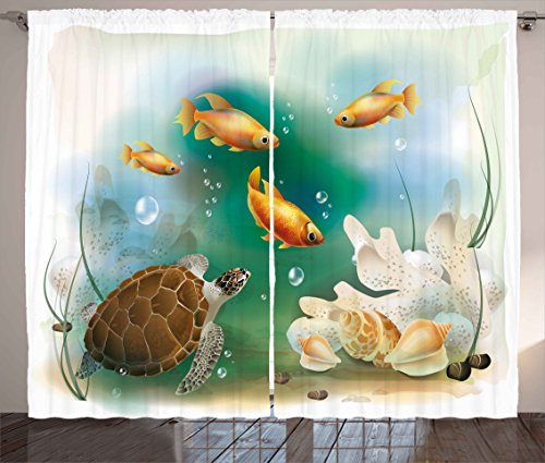 (Ambesonne Turtle Curtains, Artistic Ocean Life Illustration Aquarium Tropical Animals Goldfishes and Seashells, Living Room Bedroom Window Drapes 2 Panel Set, 108 W X 84 L Inches, Multicolor)