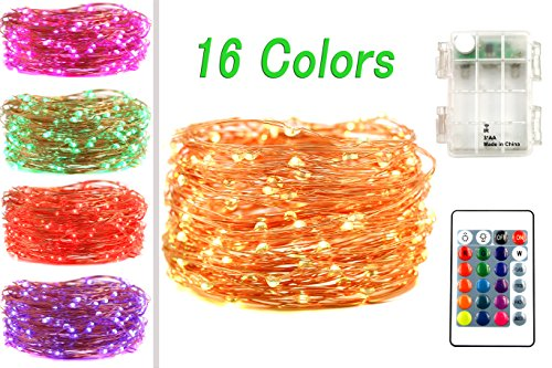 LED String Lights, 50 LED 16 Color Variation Battery Powered String Light, Outdoor Fairy Starry Lights with Remote Control, Great for Bedroom, Patio, Christmas, Halloween Decorations (1)