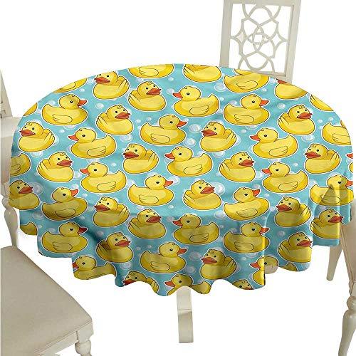 Tassel Bubble - ScottDecor Christmas Tablecloth Duckies,Sketch Rubber Ducks Bubbles Tassel Tablecloth Round Tablecloth D 36