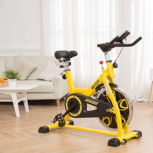 ANCHEER Indoor Cycling Bike, Belt Drive Indoor Exercise Bike with 49LBS Flywheel (Yellow) by ANCHEER (Image #1)