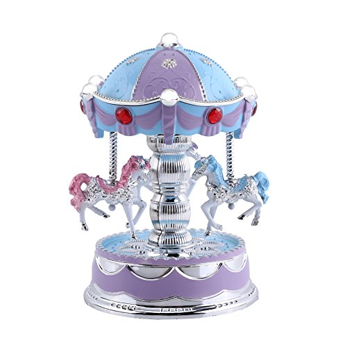 Wind up Music Box Vintage Look Music Box With Jewelry Box - Table Desk Decoration and Gift (Carousel Horse, Purple) (Purple Carousel)