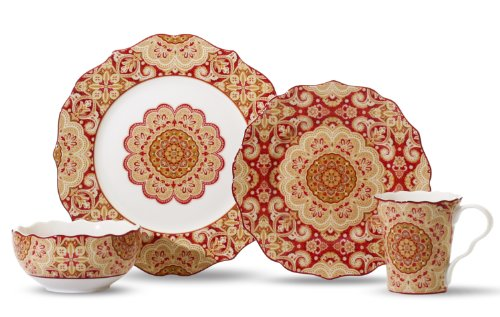 222 Fifth Lyria 16-Piece Set Dinnerware Set, Saffron