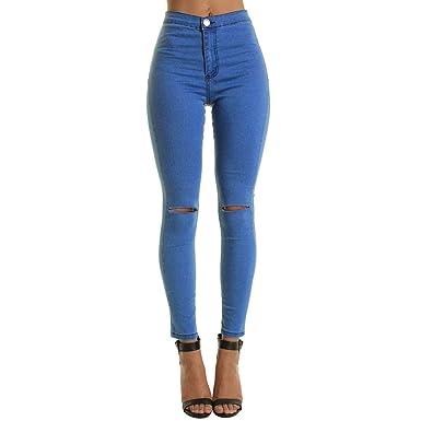 Vaqueros Mujer Tallas Grandes Pantalones Rotos Mujer Negros ...