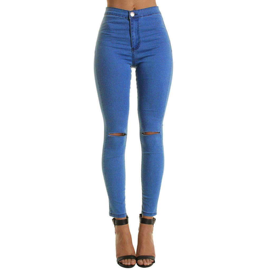 IEason Women Mid Waist Skinny Ankle-Length Broken Hole Long Jeans Trouser Suits Four Season Blue