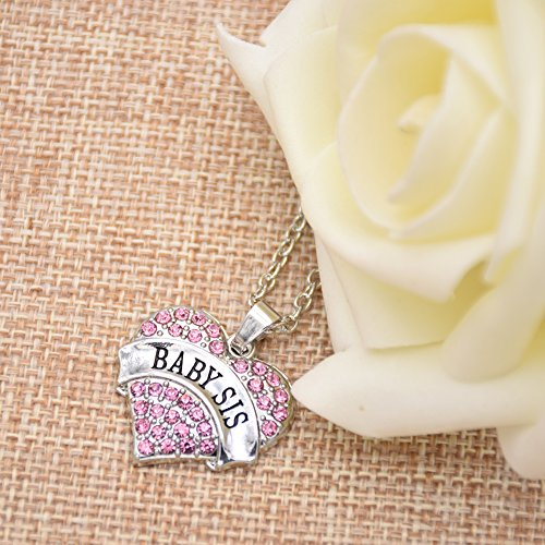 Oriya Baby Sis Sister Gifts Necklace Crystal Heart Necklaces Gift For Sisters Kids Bff Girls Ideas Big Sister Middle Sister Little Sister