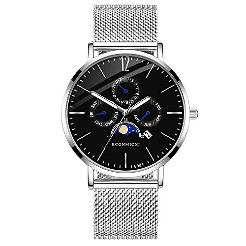 Men Watches Casual Business Waterproof Chronograph Quartz Calendar Mesh Watch Strap (J)