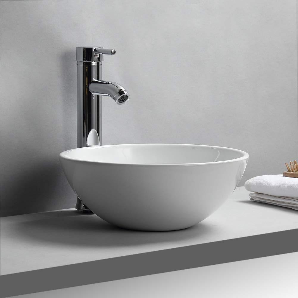 GOTOTP Lavabo de Cer/ámica Redondo Blanco Lavamanos Aseo en Forma Taz/ón 32 x 32 x 13cm