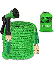 AIBIDUO Hose Pipe Expandable Garden Hose 100Ft {IMPROVED}Magic Water Hose Pipe Double Latex Core with Solid Brass Fittings & 8-pattern Spray Nozzle (Green)
