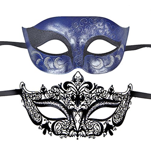One Pair Couples Half Wedding Venetian Masquerades Masks Party Costumes Accessory (white+blue1) (2)
