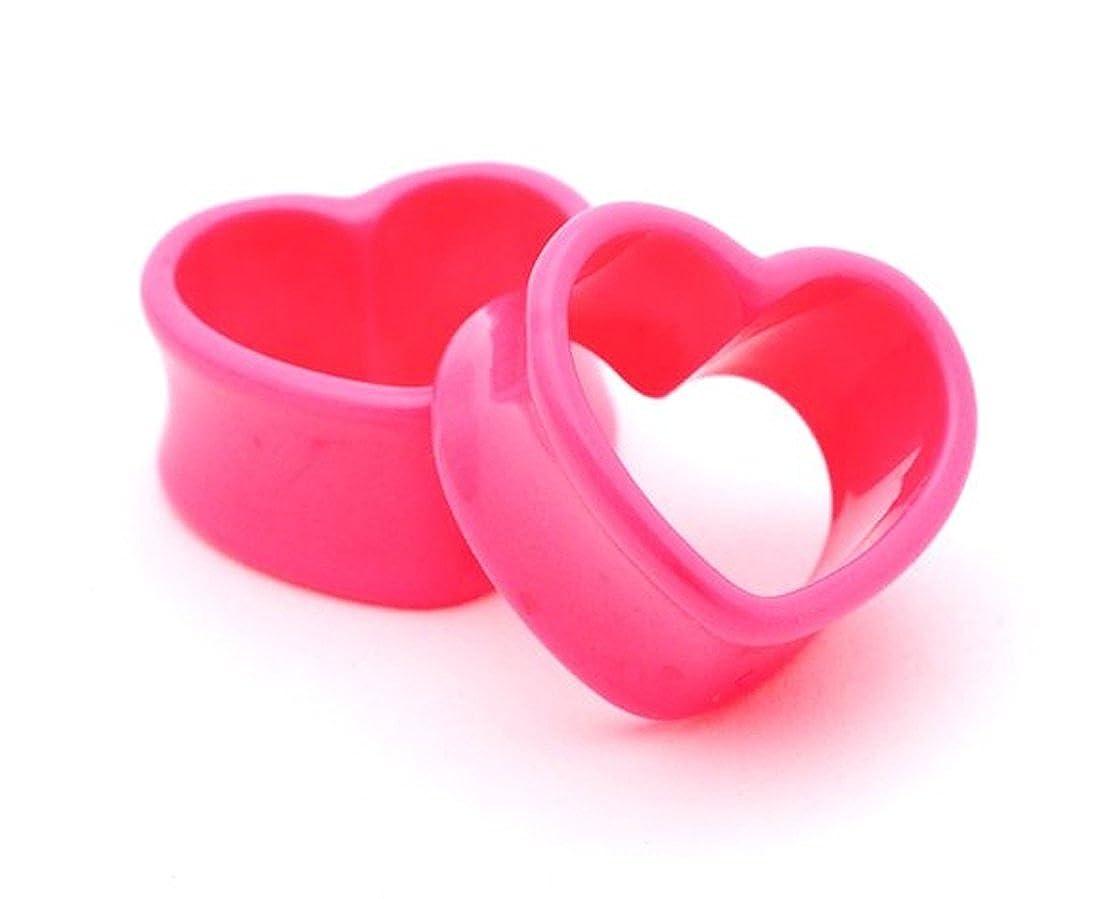 Amazon.com: Pink acrílico túneles de corazón – 00 G – 10 mm ...