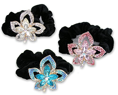 Clear Flower Brooch - Jeweled Flower Black Elastic Hair Tie Scrunchies - Set of 3-1 Clear Crystal Flower, 1 Pink Crystal Flower and 1 Blue Crystal Flower
