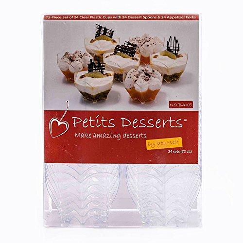 [Petits Desserts - 72 Piece Set of 24 Dessert Cups with Matching Tasting Spoons and Appetizer Forks] (Easy Halloween Cold Appetizers)