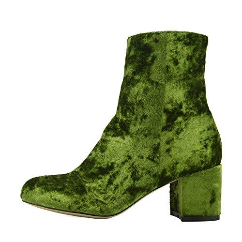 Kick Footwear Ladies Floral Print Multi Colour Ankle Boot Block High Heel Celeb Shoes Green