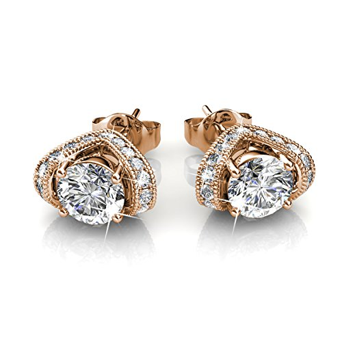 FAPPAC Vintage Stud Earrings Enriched with Swarovski Crystals