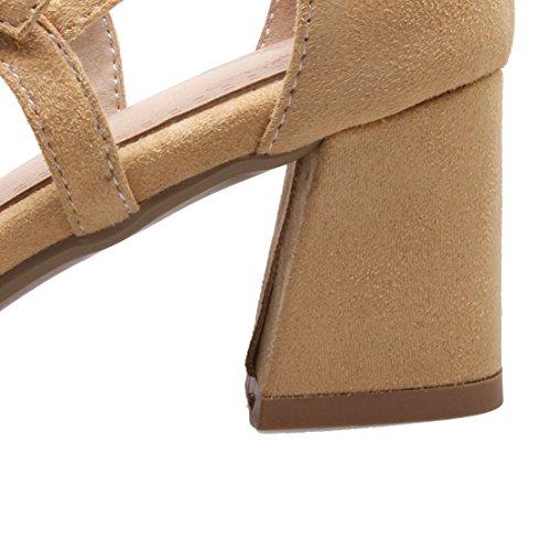 AIYOUMEI Damen Wildleder Knöchelriemchen Pumps mit Schnalle und 6cm Absatz Blockabsatz Bequem Sommer Schuhe Aprikose