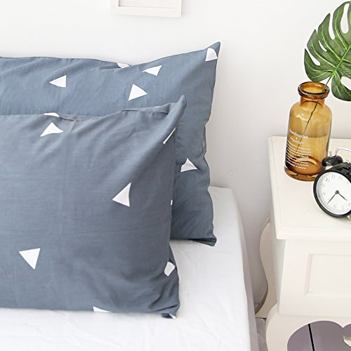 Standard Triangle (BuLuTu Cotton Triangle Print Bed Pillowcases Set of 2 Queen Navy/Grey Pillow Covers Decorative Standard For Kids Adults Envelope Closure End (2 Pieces,20