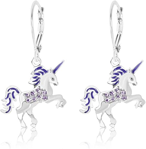 Children White Gold Enamel Unicorn Crystal Earrings with Silver Leverbacks Baby Kids Earrings Girls