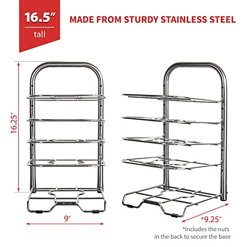 "Large Product Image of BetterThingsHome 5-Tier Height Adjustable Pan and Pot Organizer Rack: Adjust in increments of 1.25"", 10, 11 & 12 Inch Cookware Lid Holder, Stainless Steel (16.5"