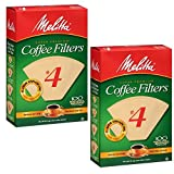 Melitta #4 Coffee Filters, Natural Brown, 2 Pack of 100 Filters.