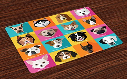 Original Dog Pop Art - Lunarable Animals Place Mats Set of 4, Pattern with Dogs in Retro Pop Art Style Bulldog Hound Cartoon Animals Design, Washable Fabric Placemats for Dining Room Kitchen Table Decor, Pink Blue Yellow