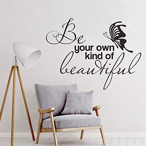 FlyWallD Wall Decal Babys Girls Room Quotes Be Your Own Kind Beautiful Butterfly Sticker Bedroom Nursery Decor