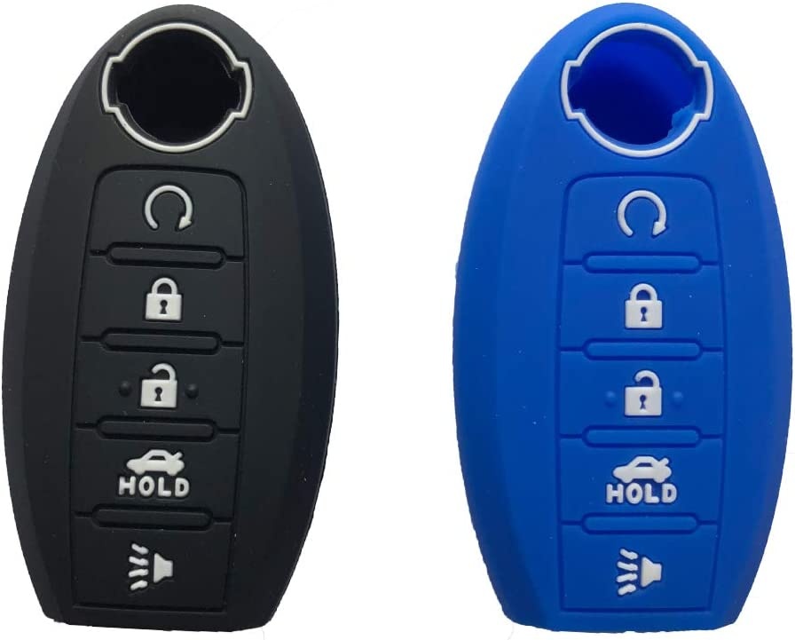2Pcs Silicone Key Fob Cover Case Protector Jacket fit for Nissan Altima Maxima Armada Rogue Leaf Sentra GT-R 350Z 370Z Infiniti Q40 5buttons Smart Key Holder red Button+Blue Button 2Pcs Black