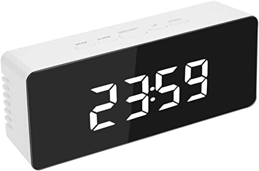 Digital LED Large Display Alarm Clock USB//Battery Operate Mirror Snooze Clock UK