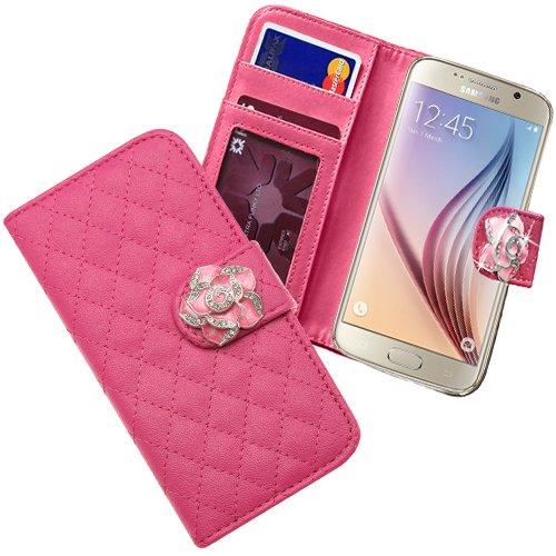 Xtra-Funky Exclusivo Samsung Galaxy S6 del Faux de caja monedero de la cartera de cuero del tirón con incrustado cristalina Rose en Correa Cierre Magnético - Blanco Rosa