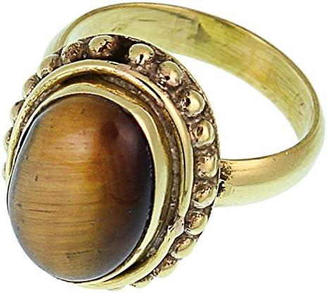 Tiger eye brass ring