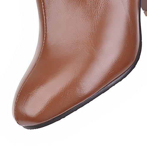 Square Solid AgooLar Heels Brown High Materials Blend Zipper Boots Women's Toe qqPgx0