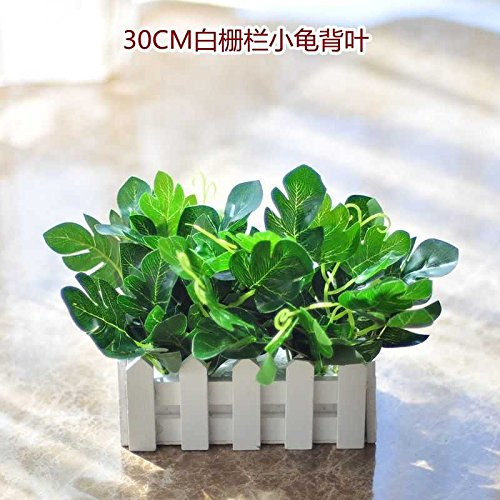 Jhyflower Pure style fake green plants fake flower decoration indoor and outdoor decorative fence green pot plants artificial flowers and plants, light green 16CM white column turtle leaves