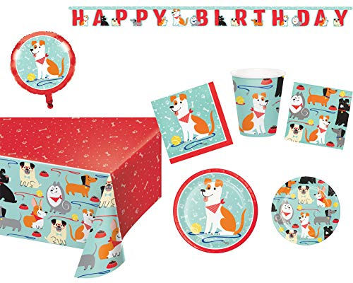 Puppy Dog Birthday Party Supplies and Decorations Kit : Bundle Includes - Plates, Napkins, and Cups for 16 Guests Plus a Banner, Table Cover, and Balloon -